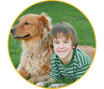 Smiling Kid and Dog